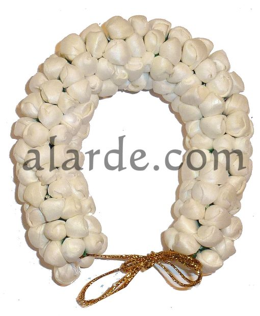 Imitation hair flowers for indian dances white