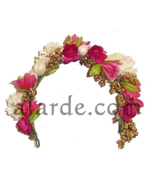 Imitation hair flowers for indian dances fuchsia